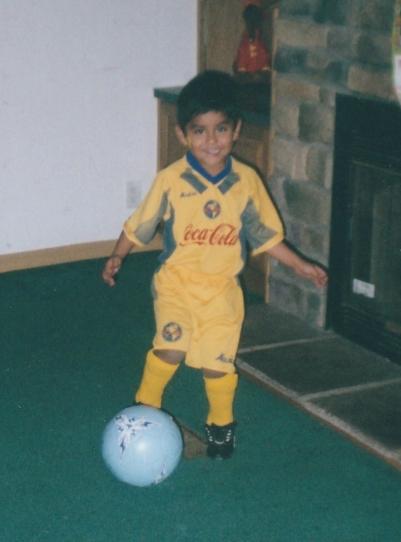 Pedro rocking America FC soccer jersey