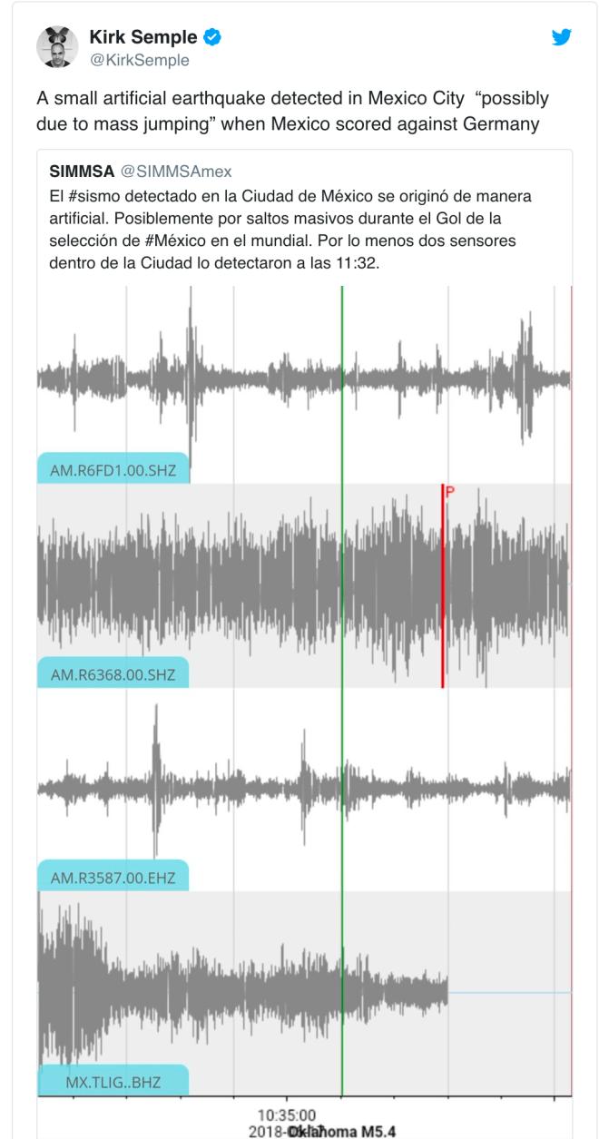 Kirk Semple tweet about earthquake